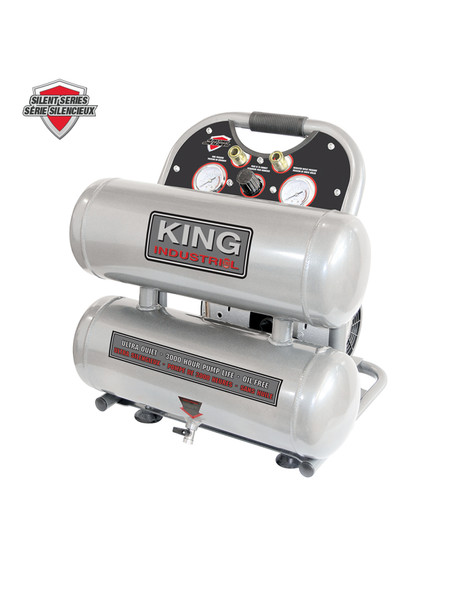KING CANADA KC-4620A Ultra Quiet 4.6 Gallon Oil-Free Air Compressor