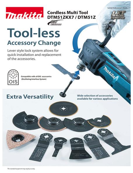 Makita DTM51ZKX7 Cordless Toolless Multi Tool 18V