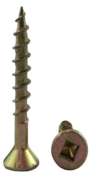 Robertson 80FYLR #8 Flat Head Yellow Zinc Plated Decking Screws