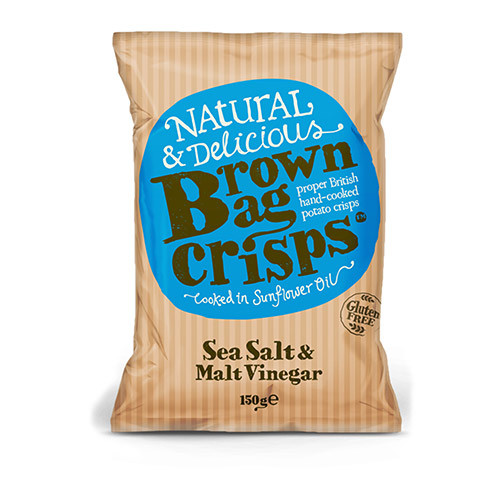 Brown Bag Crisps Sea Salt and Malt Vinegar 150g