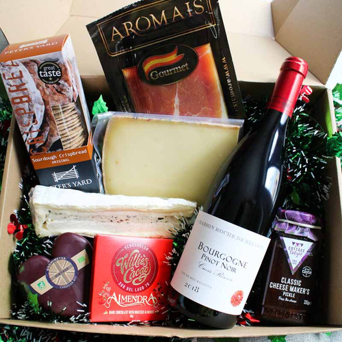 Christmas Wine and Cheese Celebration Box for 4