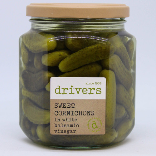 Drivers Sweet Cornichons in White Balsamic Vinegar