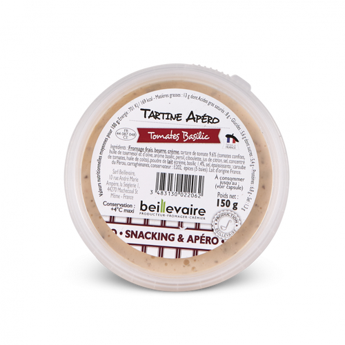 Beillevaire Cream Cheese with Basil and Tomato Tartine