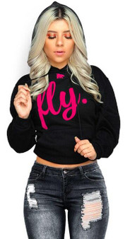 LOVE MYSELF CLOTHES First Love Yourself Fly Comfort Hoodie Black/Pink Print