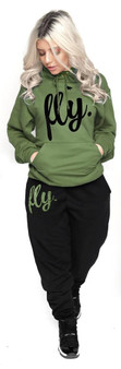 LOVE MYSELF CLOTHES First Love Yourself Fly Comfy Hoodie Outfit Military Green/Black