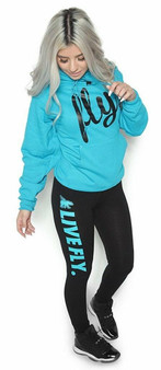 LOVE MYSELF CLOTHES FOREVER LIVE FLY OUTFIT CALI BLUE HOODIE/BLACK LEGGINGS
