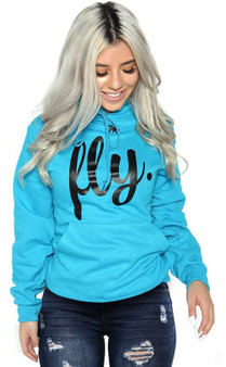 LOVE MYSELF CLOTHES FIRST LOVE YOURSELF FLY COMFORT HOODIE Cali Blue