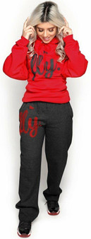 LOVE MYSELF CLOTHES Fly Comfy Hoodie Outfit Red/Dark Grey