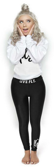LOVE MYSELF CLOTHES Live Fly Legging and Crew Outfit White/Black