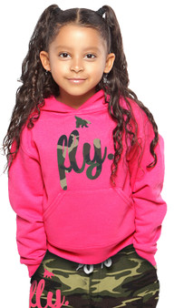 First Love Yourself (fly.) Kids Camo Print Pink Hoodie