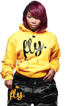 First Love Yourself (fly.) Comfort Hoodie: Gold/Black Print