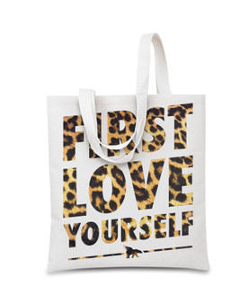 FIRST LOVE YOURSELF Leopard Print Small Tote