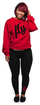 LOVE MYSELF CLOTHES Live Fly Legging and Crew Outfit Red/Black
