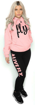 LOVE MYSELF CLOTHES FOREVER LIVE FLY OUTFIT Light Pink Hoodie/Black Leggings