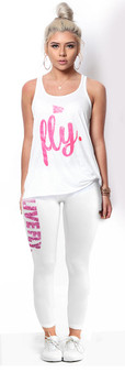 LOVE MYSELF CLOTHES LIVE FLY Pink Glitter Tank Leggings Combo