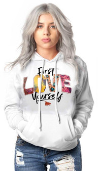 LOVE MYSELF CLOTHES First Love Yourself Pattern Hoodie Print White