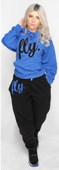 LOVE MYSELF CLOTHES First Love Yourself Fly Comfy Hoodie Outfit Classic Royal/Black