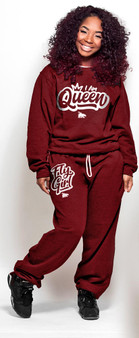 LOVE MYSELF CLOTHES I AM QUEEN Fly Girl Crew Combo Jamming Maroon/White