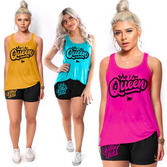 LOVE MYSELF CLOTHES I Am Queen Fly Girl Everyday Tank Shorts Sets dollar40 FREE SHIP