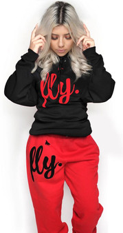 LOVE MYSELF CLOTHES NEW First Love Yourself Fly Comfy Hoodie Set Midnight Black/Candy Apple Red