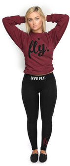 LOVE MYSELF CLOTHES Live Fly Legging and Crew Outfit Maroon/Black