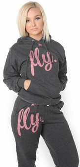 LOVE MYSELF CLOTHES FIRST LOVE YOURSELF FLY COMFY HOODIE OUTFIT Dark Grey w/ Light Pink Print