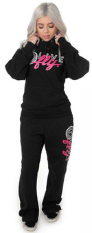 LOVE MYSELF CLOTHES LIVE FLY Collegiate Sweatsuit BLACK