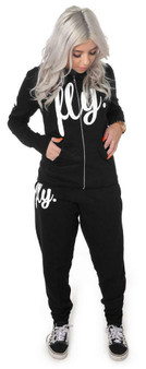 LOVE MYSELF CLOTHES Feel Good Zip -Up Jogger Outfit ALL BLACK