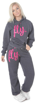 LOVE MYSELF CLOTHES First Love Yourself Fly Comfy Outfit Midnight Grey/Neon Pink