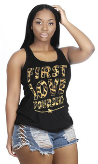 FLY - First Love Yourself Leopard Tank Black