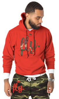 First Love Yourself (fly.) Lounge Hoodie: Red with Camo Print