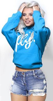 LOVE MYSELF CLOTHES FIRST LOVE YOURSELF FLY COMFORT HOODIE CALI BLUE/White