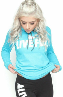FOREVER LIVE FLY Sports Hoodie Tee TEAL