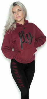 LOVE MYSELF CLOTHES FOREVER LIVE FLY OUTFIT MAROON HOODIE/BLACK LEGGINGS
