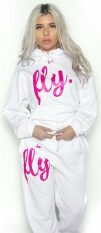 LOVE MYSELF CLOTHES FIRST LOVE YOURSELF FLY COMFY OUTFIT ALL WHITE/PINK PRINT