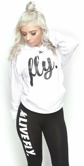 LOVE MYSELF CLOTHES FOREVER LIVE FLY OUTFIT WHITE HOODIE/BLACK LEGGINGS
