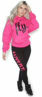 LOVE MYSELF CLOTHES FOREVER LIVE FLY OUTFIT PINK HOODIE/BLACK LEGGINGS