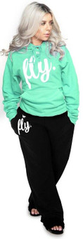 LOVE MYSELF CLOTHES First Love Yourself Fly Hoodie Outfit Mint Green/Black