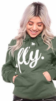LOVE MYSELF CLOTHES First Love Yourself Fly Comfy Hoodie Military Green/White Print