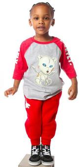FLY Toddler Problem Bear Raglan Red/Grey