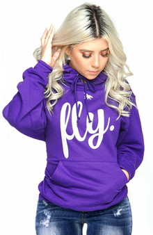 LOVE MYSELF CLOTHES FIRST LOVE YOURSELF FLY COMFORT HOODIE PURPLE/White Print