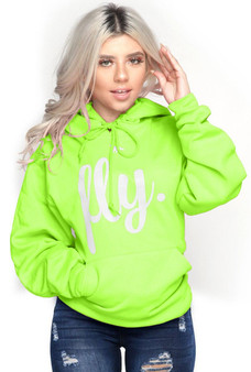 LOVE MYSELF CLOTHES FIRST LOVE YOURSELF FLY COMFORT HOODIE NEON GREEN