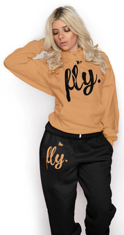 LOVE MYSELF CLOTHES FIRST LOVE YOURSELF FLY COMFY OUTFIT EGYPTIAN GOLD/MIDNIGHT BLACK