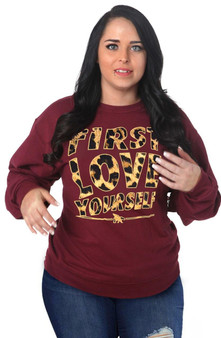 LOVE MYSELF CLOTHES First Love Yourself Leopard Crewneck
