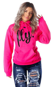 LOVE MYSELF CLOTHES First Love Yourself Fly Comfort Hoodie Pink/Black Print UNISEX FIT