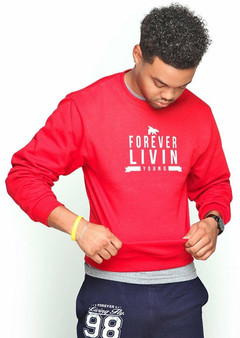 LOVE MYSELF CLOTHES FOREVER LIVIN YOUNG CREWNECK RED UNISEX FIT