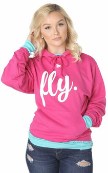 LOVE MYSELF CLOTHES First Love Yourself Fly Comfort Hoodie Pink/White Print UNISEX FIT