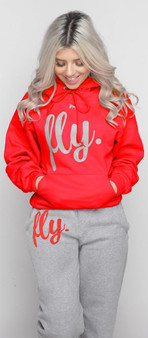 LOVE MYSELF CLOTHES First Love Yourself Fly Comfy Hoodie Outfit Candy Apple Red/Grey