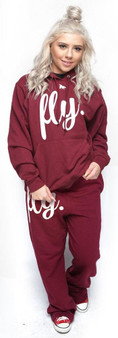 LOVE MYSELF CLOTHES First Love Yourself Fly Comfy Hoodie Outfit Maroon