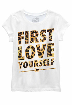 First Love Yourself Leopard Youth Tee White